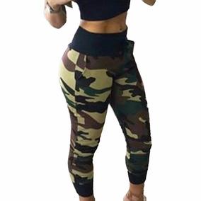 Calça Feminina Militar Estampada Cós Preto Cintura Alta