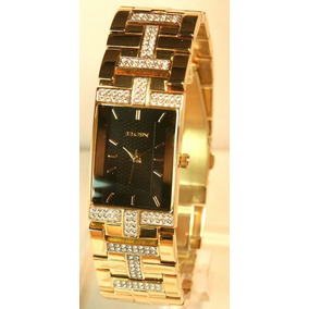 Relógio Elgin Diamond Gold Austrian Crystal Bracelet Watch