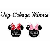 100 Tags Cabeça Minnie - Com Laço Rosa Ou Vermelho