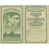 Apólice Da Prefeitura De Porto Alegre De 50$000 Ano De 1935