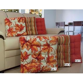 Kit Com 4 Almofadas Futon 55x55/assento: Lisas E Estampadas