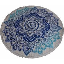 Canga Indiana Redonda Azul Flor De Lótus Importada Da Índia