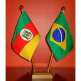 Kit Bandeira Oficial De Mesa Com 2 Mastros Alt 31cm