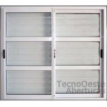 Ventana Aluminio Blanco Repartido 150x150 C/ Postigo Celosía