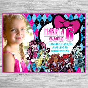 Kit Imprimible Monster High Candy Bar Invitaciones Cotillón