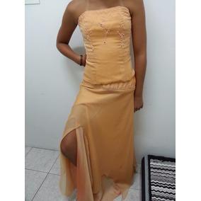 Vestido De Fiesta, Talle S, Color Naranja,.corset Y Falda