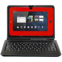 Capa De Couro C/ Teclado Universal Usb P/ Tablet 9 Polegadas