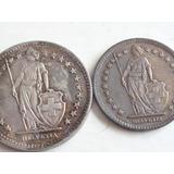 2 Monedas 2 Y 1 Francos Suizo 1944 B Plata