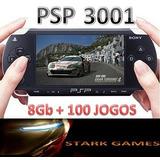 Psp Slim 3001 Desbloqueado+cartão 8gb+100 Jogos+case+cabousb