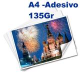500 Fls Papel Fotográfico Adesivo A4 Glossy Brilhante 135 Gr