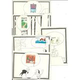 Caricatura 1973 Folclore Gato Aviação 5 Bilhetes Postais
