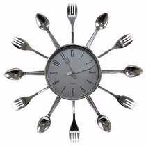 Relógio De Parede Cozinha Formato Talheres Garfo Faca Colher