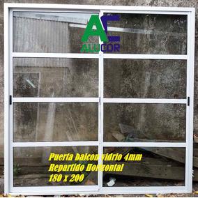 Puerta Balcón Vidrio Repartido Horizontal 180x200 Aluminio