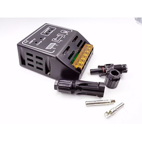 Kit Controlador Solar Pwm 10a+2 Pares Conector Mc4 Rapido