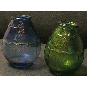 Antiguos Mates Vidrio Azul Y Verde -cristalerías Del Uruguay