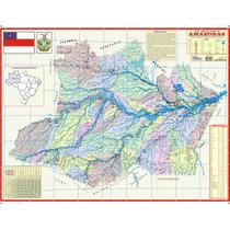 Mapa Geo Político Rodoviário Estado Do Amazonas 1,20 X 0,90m