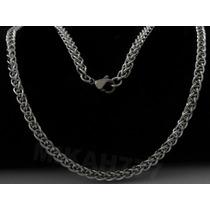 Cordão Masculino Grumet Trançado 100% Aço Inox 4mm Cor:prata