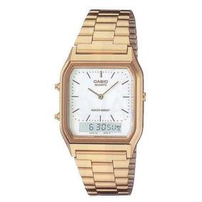Relógio Casio Aq-230 Gold Análogo Digital Alarme Cronom