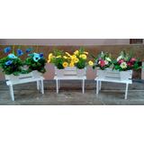 Arranjo Artificial Banquinho Com Flores