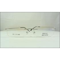 Armação Prata Óculos De Grau Sem Aro Feita De Titanium A408