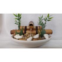 Fonte Bambu Feng Shui Cerâmica Pedras 1 Bica Prato Branco