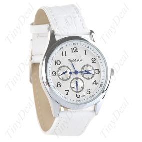 Relógio Redondo Quartzo Pulseira Imita Couro Unissex