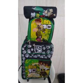 Mochila Rodinha Infantil Ben 10 + Lancheira+ Porta Lapis