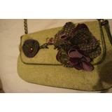 Bolsa Em Lã Verde Com Detalhes Roxos Flores Americana