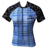 Camisa Feminina Damatta Bk-09 Xadrez Azul
