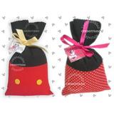 10 Saquinho Surpresa Tecido Mickey Mouse E Minnie Com Cartão