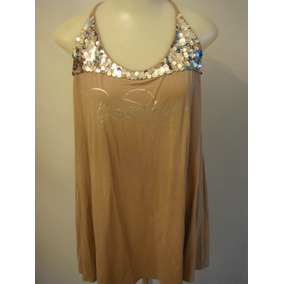 Vestido Mini Vest Blusa Bege Com Paetes Viscolycra Tam. G