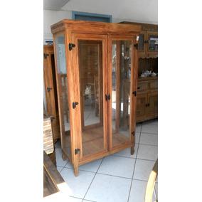 Biblioteca / Cristaleira De Madeira De Demolição E Vidros.
