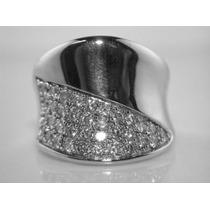 Anel Em Ouro Branco 18 Quilates Com Diamantes De 1 Ponto