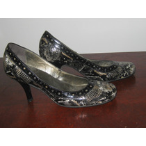 Sapato Verniz Estampa Oncinha 35 - Salto 8 Cm