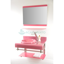 Gabinete De Vidro Banheiro Rosa Total 70 Cm
