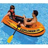 Bote Inflável Explorer 200 Intex Até 95kg - Par Remos Bomba