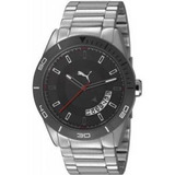 Puma Gran Circuito Metal Plata Negro Cuarzo Reloj