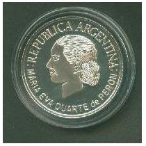 Moneda Plata 1 Peso 50º Fallecimiento Eva Peron Año 2002