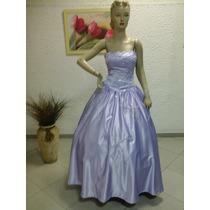 Vestido De Debutante Formatura Em Cetim Vison Lilás Df104