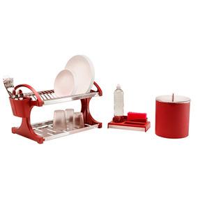 Escorredor 16 Pratos + Lixeira 5,4l + Organizador Vermelho