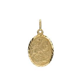 Pingente Ouro 18k - São Jorge - Oval + Frete Grátis