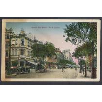 Cartão Postal Antigo Avenida Rio Branco Rio De Janeiro.carro