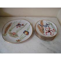 #4403# Jogo 7 Pratos De Porcelana Antigo, Pintado À Mão!!!