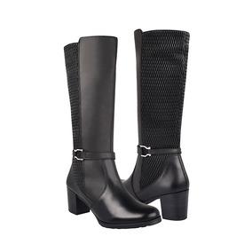 Yuyin Zapatos Dama Tacon Tubo Alto 36152 Piel Negro