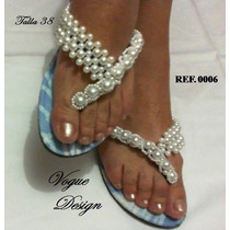 Docena Sandalias Decoradas Con Perlas Modelos-tallas Variado
