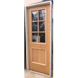 Puerta Placa Cedro 1/2 Vidrio Repartido Chapa 18 80x200