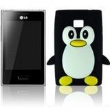 Capa Silicone 3d - Pinguim P/ Lg Optimus L3 E400 Ou E405