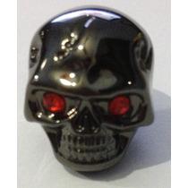 Knob (botão) Metal Caveira Cor Preto (black) Olhos Vermelhos