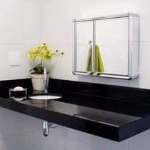 Armario Espelho Banheiro Aluminio Astra Sobrepor