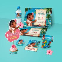 Kit Imprimible Baby Bebe Moana Invitaciones Etiquetas